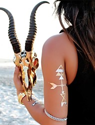 1Pcs Arrow  Metallic Gold  and  Silver Tattoo Stickers Temporary Tattoos