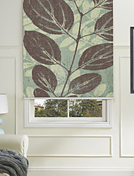 Painting Style Broad Leaves Blue Desgin Roller Shade