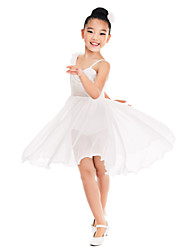 MiDee Ballroom Dance Dresses Women's Children's Training Spandex Sequined Ruffles Sequins Sleeveless Natural