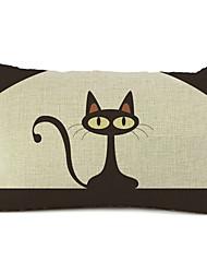 gato dos desenhos animados de algodão / linho fronha decorativo