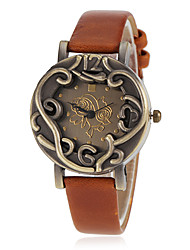 Assista caso bronze pu banda de pulso de quartzo das mulheres (cores sortidas)
