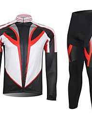 XINTOWN Men's Contracted Quick Dry Moisture Absorption Long Sleeve Cycling Suit—Red+White