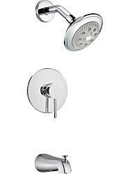 "Contemporary Chrome Wall Mount Rain Single Handle Brass Shower Faucet with 4.45"" Showerhead and Faucet Tap"