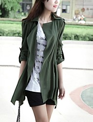 Women's Shirt Collar Solid Color Long Coat with Belt