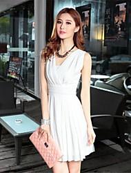 Women's Work A Line Dress,Solid Deep V / Surplice Neck Knee-length Sleeveless White / Black Spring