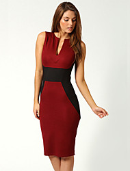 Dolce Women's V Neck Splicing Red Pencil Dress