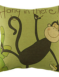 "18"" Loved Monkey Pattern Cotton Linen Decorative Pillow Cover"