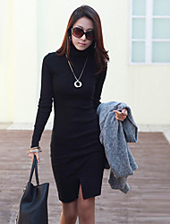 Miyue Women's Fashion  Slim Turtle Neck Large Yard Long Sleeve Bottoming Bottoming Dress