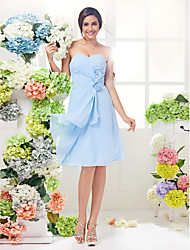 Knee-length Georgette Bridesmaid Dress - Sky Blue A-line Sweetheart