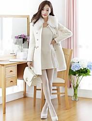 Chaoliu New Korean Autumn Winter Korean Style Womens Medium Size Imitate Woolen Coat With Fur Collar