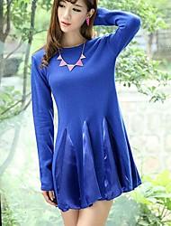 Women's Knit Chiffon A Word Skirt Sweater Fashion Splicing Sweaters