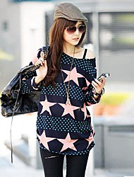 Women's Blue And Pink Star Printing - Long T Shirt