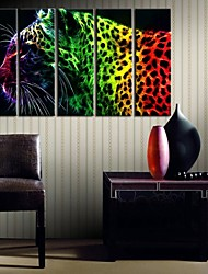 Personalized Canvas Print Stretched Canvas Art Color The Leopard 25x75cm   33x100cm  Gallery Wrapped ArtSet of 5