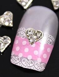 10er klar Strass Silber Herz für Fingerspitzen Schmuck Zubehör Nagelkunstdekoration