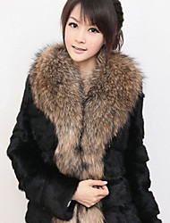 Luotiduodi New 2014 Winter Faux Fur Coat With Fur Collar In Large Size