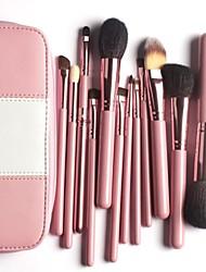 profissional kit de pincéis de maquiagem 12pieces pêlo de cabra compõem pincéis em bolsa de couro rosa