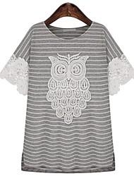 Damen Gestreift Einfach Lässig/Alltäglich T-shirt Sommer / Herbst Kurzarm Weiß / Grau Baumwolle Dünn