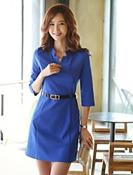 Women's Work Sheath Dress,Solid Asymmetrical Above Knee Long Sleeve Blue / Red Spring / Summer / Fall
