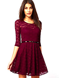 New European Lace All-matched Slim Waisted Lady Dress