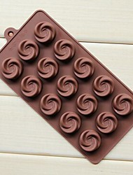 15 Hole Vortex Rose Shape Cake Ice Jelly Chocolate Molds,Silicone 21.7×10.8×1.7 CM(8.5×4.3×0.7 ICNH)
