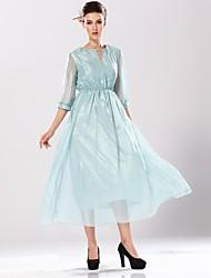 colore solido vestito sottile autunno di seta di yinqian®women