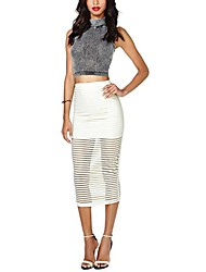 Women's The New Spring and Summer in Europe The Smooth Ivory White Sheer Striped Iining Skirts