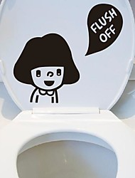 Cartoon Girl Toilet Posted Toilet Sticker