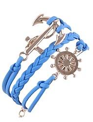 (1 Pc)European 5cm Women's  Anchor Rudder Alloy Chain & Link Bracelet