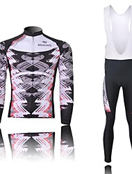 XINTOWN Men's Tornado Quick Dry Moisture Absorption Long Sleeve Bib Tights Cycling Suit—White+Red