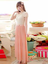 OULIYA Women'S Chiffon Pleated Dress Without Belt(Pink)