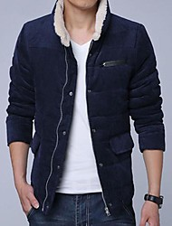 Men's Stand Collar Casual Long Sleeve Corduroy Cotton-Padded Clothes Coat
