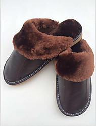 YUFU Warm Leather Slide Slippers (Brown)
