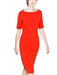 Ropa Mujer Collar cultiva su moralidad Mostrar Thin vestido naranja con mangas cortas