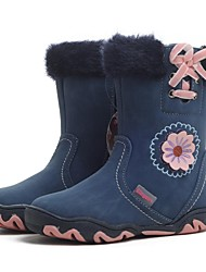 Girls' Shoes Casual Leatherette Boots Winter Snow Boots / Round Toe Flat Heel Bowknot / Ribbon Tie / Flower Blue / Purple