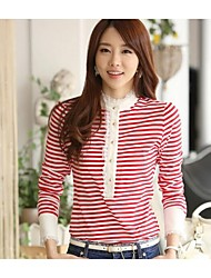 Women's Stitching Stripe Big Yards Long Sleeve Shirts