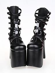 sapatos pretos de couro pu 15 centímetros do salto alto do punk Lolita com linha