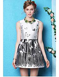 vestido estampado Buttrefly o sem mangas pescoço balanço do woment das mulheres