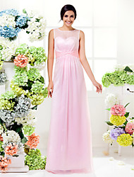 LAN TING BRIDE Floor-length Chiffon Bridesmaid Dress - Sheath / Column Jewel Plus Size / Petite with Criss Cross