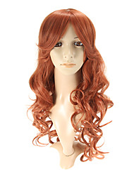 Capless Auburn Red Long Wavy Wig Side Bang