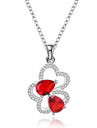 New Design Elegant 925 Sterling Silver Jewelry Heart with Red Zircon Pendant Necklace for Women