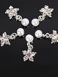 10er Strass Sakura Blume Perle 3D-Legierung Nagelkunstdekoration