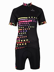 PaladinSport New Women's  Cycling Jersey   Color Box Style 100% Polyester Short Sleeve Cycling Suit Black