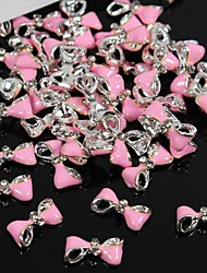 10pcs  Pink Twist Bow Tie 3D Rhinestones Alloy Nail Art Decoration