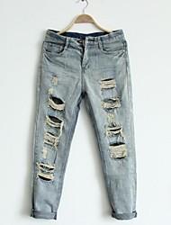 Women's Boyfriend Hole Ripped Denim Jeans
