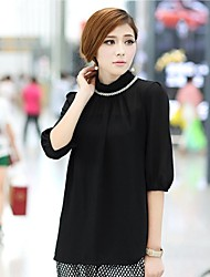 Women'S High Collar Puff Sleeve Chiffon Blouse