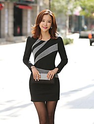 Women's Work Dress,Color Block Above Knee Long Sleeve Polyester Fall