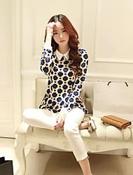 Women's Leopard Black/Blue Blouse , Shirt Collar Long Sleeve Ruffle