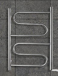 80W Towel Warmer Stainless Steel Mirror Polished Drying Rack Wall Mount