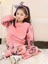 Girls Floral Long Sleeve Fleece Suit