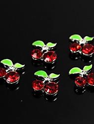 10pcs Red Rhinestones Gem Cherry Design 3D Alloy Nail Art Decoration